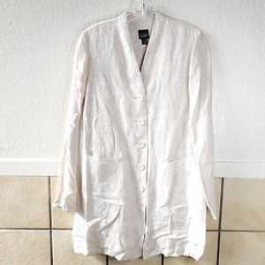 Eileen Fisher PS pocket front long linen cardigan